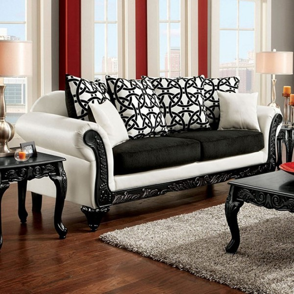Furniture Of America Dolphy Black White Sofa FOA-SM7600N-SF