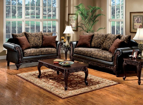 Furniture Of America Rotherham Floral Brown Espresso 2pc Living Room Set FOA-SM7630N-2PC
