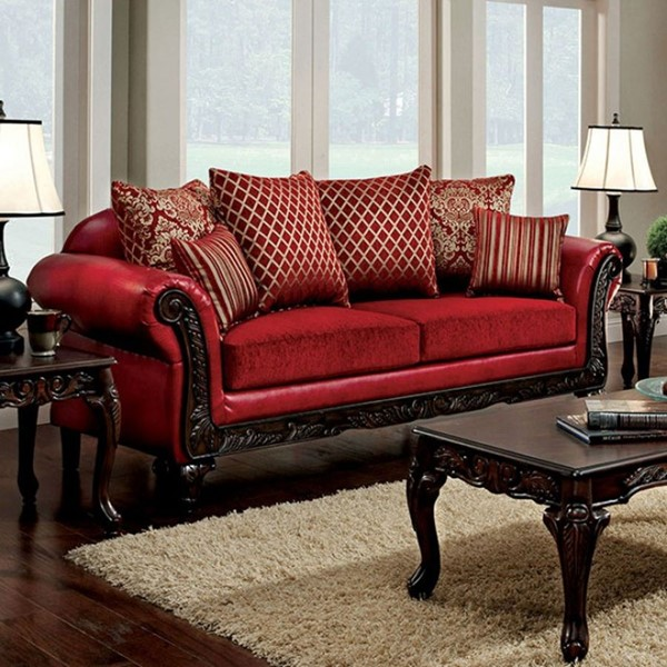 Furniture Of America Marcus Red Sofa FOA-SM7640N-SF