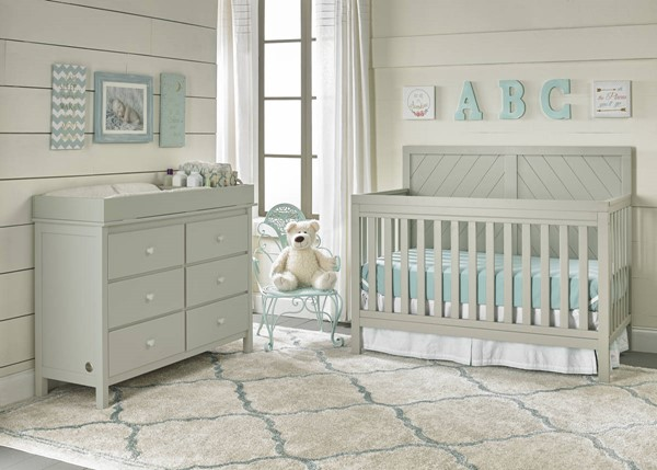 Fisher Price Buckland Misty Grey 3pc Kids Set Crib with Dresser and Dressing Kit FSRP-124501-KBR-S5