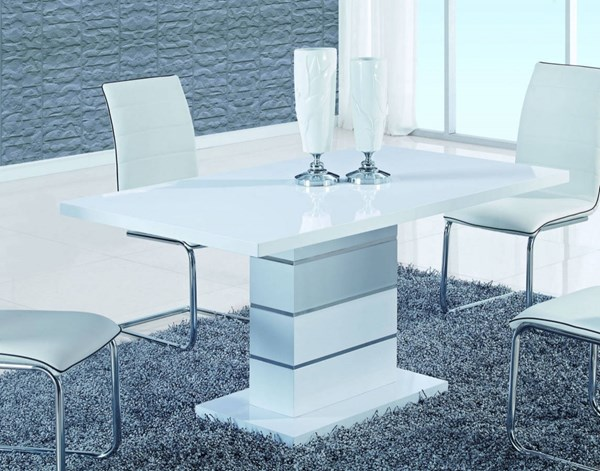 D470 Series High Gloss White MDF Metal Dining Table GL-D470DT