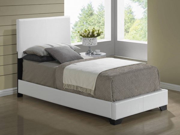 White PU Twin Bed w/Upholstered Headboard GL-8103-WH-TB-M