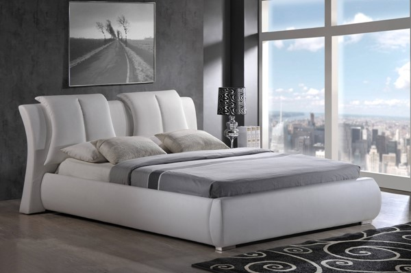 White PU Queen Platform Bed w/Upholstered Headboard GL-8269-WH-QB-M