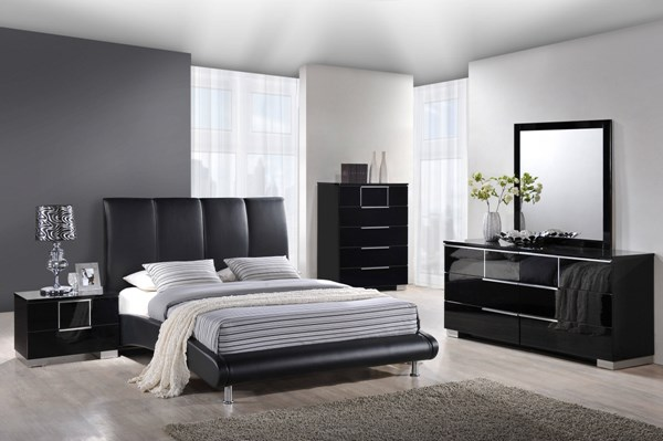 Contemporary Black Wood PU MDF 2pc Bedroom Set W/Queen Bed GL-8272-M-BR-S2