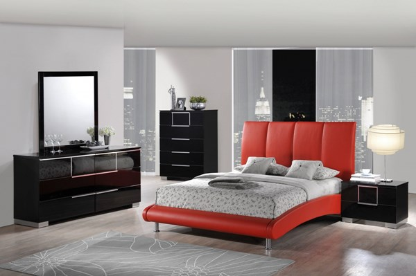 Contemporary Red Black Wood PU MDF 2pc Bedroom Set W/King Bed GL-8272-M-BR-S5