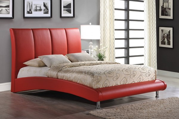 Red PU MDF Platform Queen Bed W/upholstered Headboard GL-8272-R-QB-M
