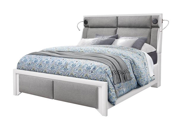 Global Furniture 9652 White Grey King Panel Bed GL-9652-WH-PU-GR-KB-W-STEREO-LIGHT