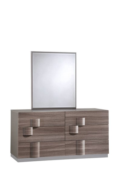 Adel Zebra Wood Grey High Gloss Dresser & Mirror GL-ADEL-119A-DRMR