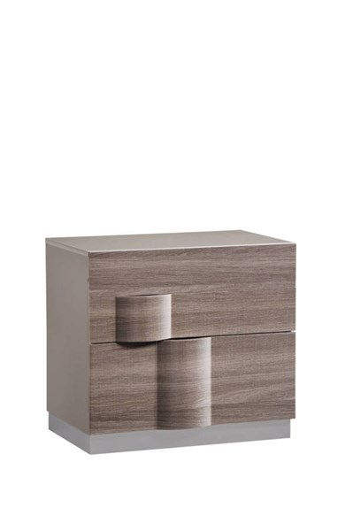Adel Zebra Wood Grey High Gloss Nightstand GL-ADEL-119A-NIGHTSTAND