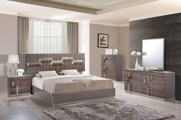Adel Zebra Wood Grey High Gloss 2pc Bedroom Set W/King Platform Bed GL-ADEL-119A-KB-S