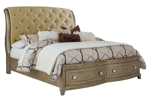 Global Furniture Athena Ash Beige King Storage Bed GL-ATHENA-BEIGE-KB