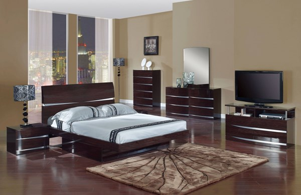 Aurora Modern Wenge MDF Wood 2pc Bedroom Set W/King Bed GL-AURORA-W-BR-S1