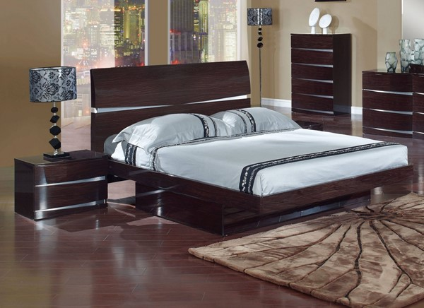Aurora Modern Wenge MDF Wood King Storage Bed GL-AURORA-W-KB-M