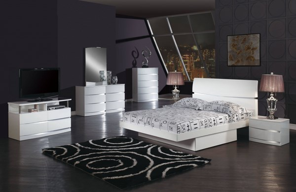 Aurora Modern Wenge White MDF Wood Master Bedroom Set GL-AURORA-BR