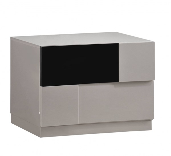 Bianca Grey Black High Gloss MDF Wood Nightstand GL-BIANCA-916-GR-BL-NS