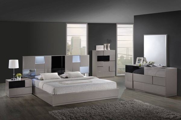 Bianca Grey Black Gloss MDF Wood 5pc Bedroom Set w/King Platform Bed GL-BIANCA-916-GR-BL-BR-S1