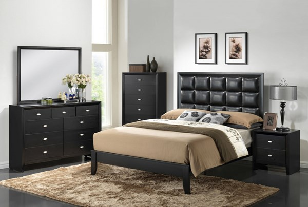 Carolina Contemporary Black Wood 2pc Bedroom Set W/King Bed GL-CAROLINA-BL-BX-M-BR-S1