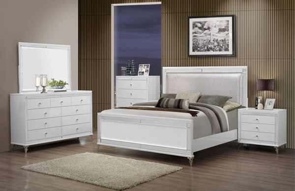 Catalina Metallic White Wood Glass Master Bedroom Set GL-CATALINA-MET-WH-M-BR