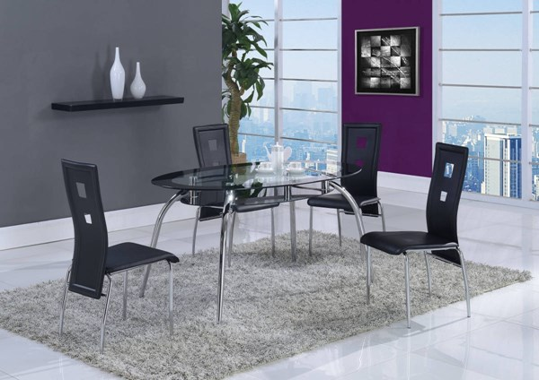 D1057 Series Black Glass Metal PU Dining Room Set GL-D1057-M-DR