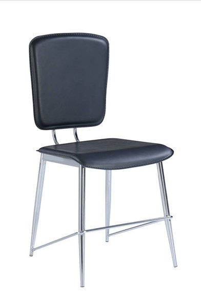 2 Black Chrome PU Metal Solid Back Dining Chairs GL-D1071DC-M