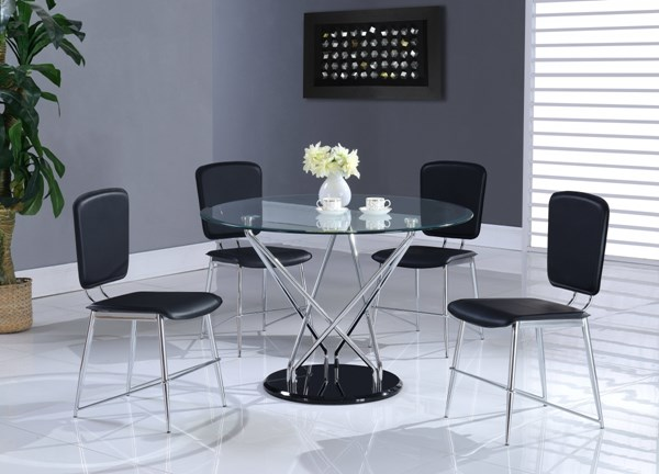 Black Chrome Glass Metal Round Dining Table GL-D1071DT-M