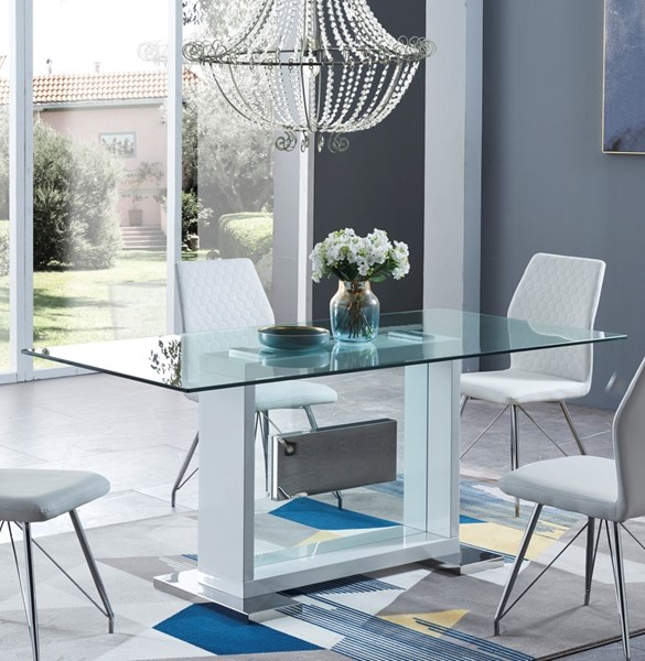 Global Furniture White Glass Dining Table GL-D1182DT-WH