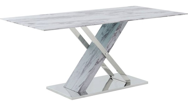 Global Furniture White Grey Faux Marble Dining Table GL-D1274DT