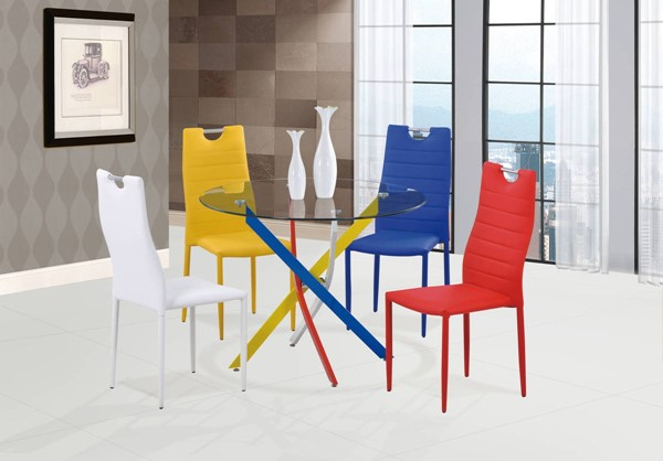 D1541-D1538 Series Blue Red White 5pc Dining Room Set GL-D1541DT-D1538DC-5PC-SET