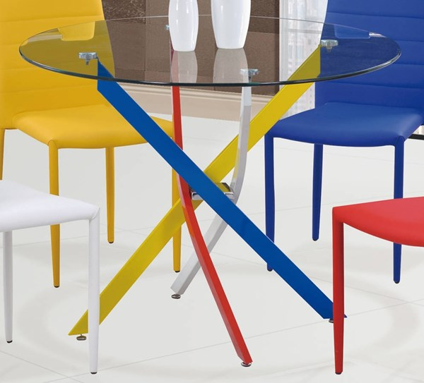D1541 Series Yellow Red Blue Glass Dining Table GL-D1541DT