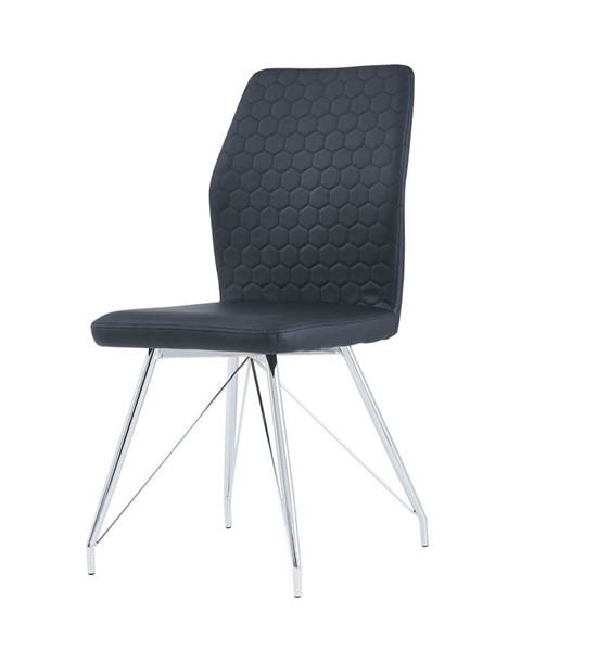 2 Global Furniture D1609 Black PU Dining Chair GL-D1609DC-BLACK