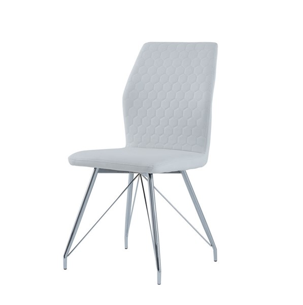 2 Global Furniture D1609 White PU Dining Chairs GL-D1609DC-WHITE