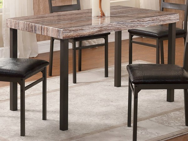 D165 Series Light Brown MDF Iron Dining Table GL-D165DT-M