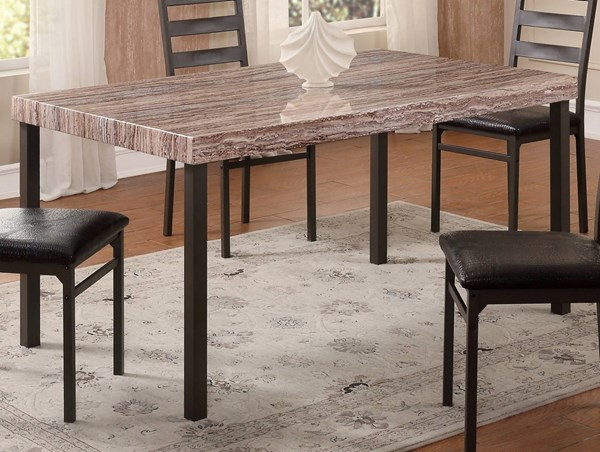 D167 Series Light Brown MDF Iron Dining Table GL-D167DT-M