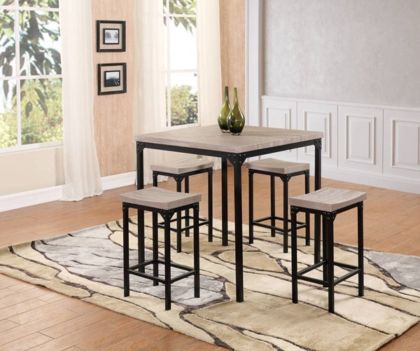 D188 Series Black MDF Iron PU 5pc Counter Height / Bar Set GL-D188BT-D188BS