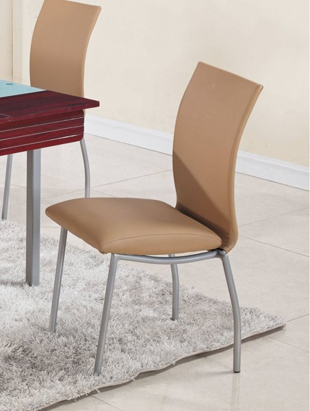 Beige Silver PVC Metal Dining Curved Back Side Chair GL-D2067NDC