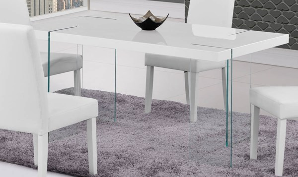 D2110 Series White High Gloss Glass Dining Table GL-D2110DT