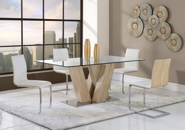 D2123 Series Contemporary White MDF Glass Dining Table GL-D2123DT