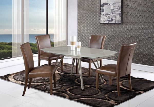 D2177-D6188 Series Champagne Brown Glass 5pc Dining Room Set GL-D2177DT-D6188DC-BLANCHE-WALNUT-5PC-SET