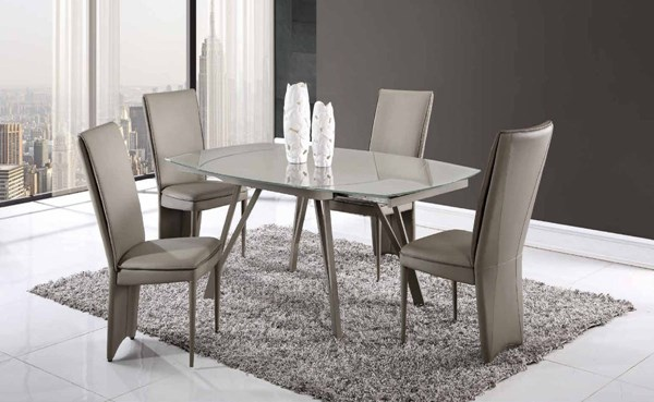 D2177-D6605 Series Champagne Taupe Glass 5pc Dining Room Set GL-D2177DT-D6605DC-TAUPE-5PC-SET