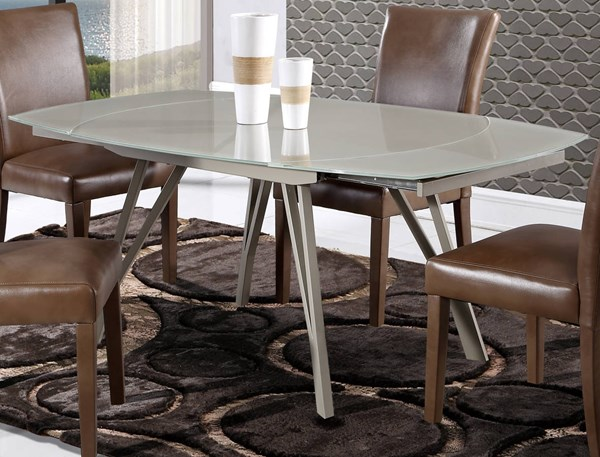 D2177 Series Champagne Glass Swivel Extension Dining Table GL-D2177DT