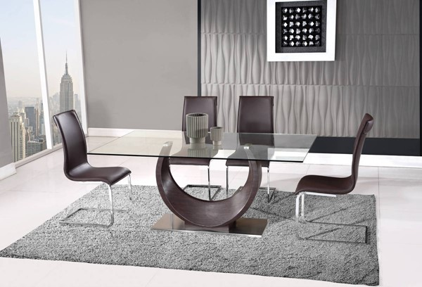 D2185-D991 Series Wenge Oak Brown 5pc Dining Room Set GL-D2185DT-D991DC-5PC-SET