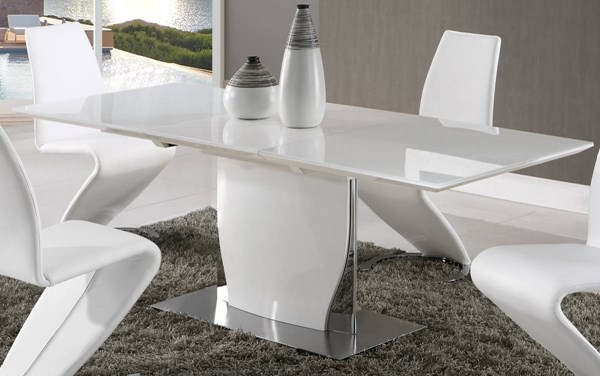 D2279 Series White High Gloss Butterfly Leaf Dining Table GL-D2279DT