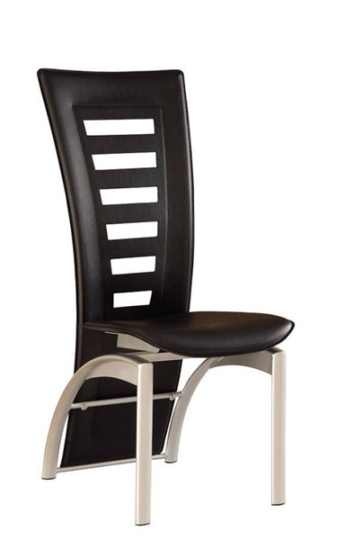 4 (D290 Series) Contemporary Black Silver PVC Metal Dining Chairs GL-D290NDC-BL