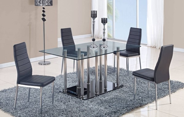 D368 Series Black Glass Stainless Steel Dining Table GL-D368DT-M