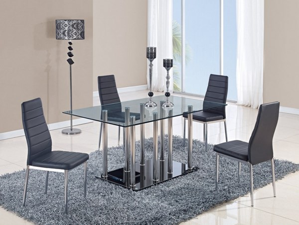 D368 Series Chrome Black Metal Glass PVC Dining Room Set GL-D368DT-G