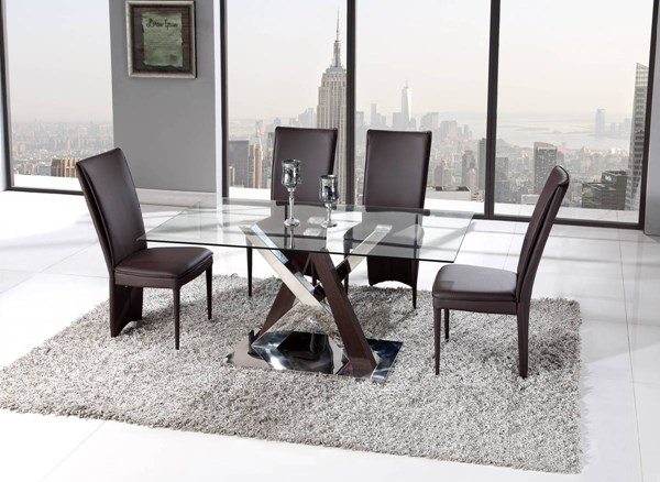 D4100 Series Wenge Brown Taupe Dining Room Set GL-D4100