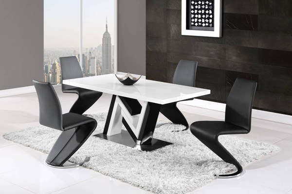 D4163-D9002 Series White Black 5pc Dining Room Set GL-D4163DT-D9002DC-BL