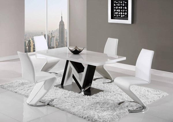 D4163-D9002 Series Black White 5pc Dining Room Set GL-D4163DT-D9002DC-WH