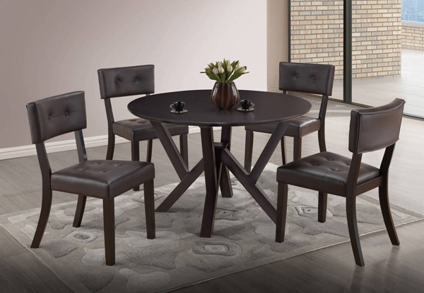 D4848 Series Cappuccino Brown 5pc Dining Room Set GL-D4848DT-D4848DC-BR