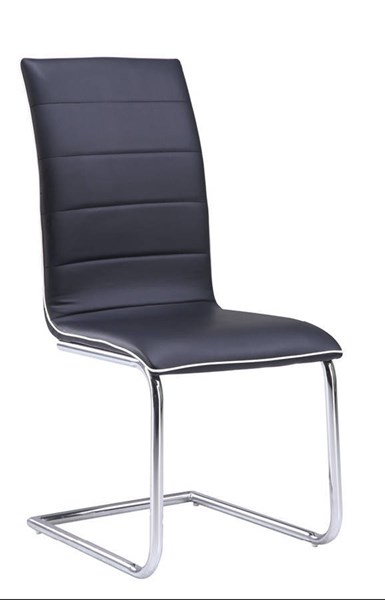 4 (D490 Series) Black White PU Metal Dining Chairs GL-D490DC-BL-M